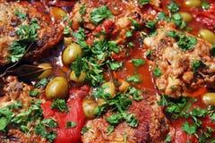 Guisado de galinha do caçador (cacciatora do alla do pollo) Imagem de Stock
