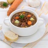 Guisado de la sopa de lenteja con las lentejas en la consumición sana del cuenco Imagen de archivo
