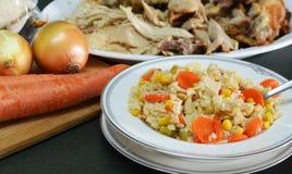 Guisado de Turquia e de arroz das sobras Fotografia de Stock
