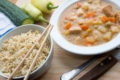Guisado e arroz de galinha Fotografia de Stock
