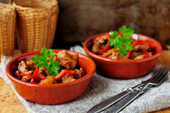 Guisado mexicano da carne de porco e do capsicum fotos de stock royalty free