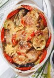 Guisado rústico saboroso tradicional da galinha e dos vegetais, decorado com tomates Fotos de Stock Royalty Free