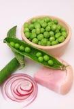 Guisante verde con arroz y el jamón Foto de archivo libre de regalías