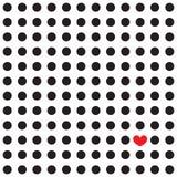 Guisantes negros y corazón rojo en un fondo blanco Ilustración del Vector