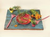 Guisantes verdes, especias, flores, platos brillantes en una tabla de madera, cocinando la comida estacional imagen de archivo