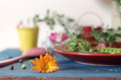 Guisantes verdes, especias, flores, platos brillantes en una tabla de madera, cocinando la comida estacional foto de archivo
