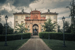 Giuseppe Verdi museum, Busseto, Parma, Italy. Entrance to Giuseppe Verdi museum in Busseto, Parma, Italy with dark, stormy skies Royalty Free Stock Photo