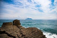 Guishan Island, Taiwan. Guishan Island taken from the coastline of Taiwan stock images