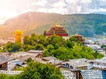 Guishan Si monastery in Shangri-la County, or Zhongdian, Yunnan Province, China.  Royalty Free Stock Photo