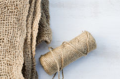 Guita y arpillera del yute de la madeja Foto de archivo libre de regalías
