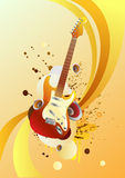 Guitar. On this picture there is a guitar and abstract elements. Drawing can be used on CD and posters Stock Photo