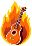 Guitar. Stylized  guitar and fire on a white background Royalty Free Stock Image