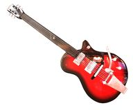 Guitar. Red & black guitar - Gretsch Musical Instrument Royalty Free Stock Photo