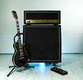 Guitar. Black guitar cabinet with amplifer Stock Images