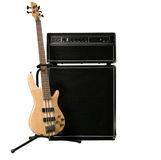 Guitar. Bass guitar  with amplifer isolated on white Royalty Free Stock Photography