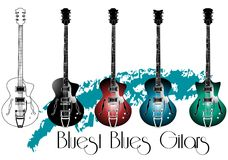 Guitar. Acoustics color blues guitars illustration Stock Image