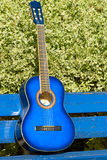 Guitar. Classical acoustic varnished blue guitar Stock Image