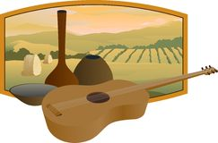 Guitar. An illustration of a guitar with a farm scene in the background Stock Photography