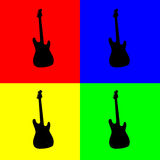 Guitar. Silhouette of electric guitar in black over four complementary colors Royalty Free Stock Images