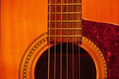 Guitar. Close-up on the sound hole of a guitar Stock Image