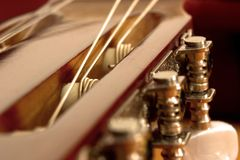 Guitar. Head, mechanics, button, mechanism button, brown, metal, screw, ornament, wood, string, strings tune royalty free stock photos