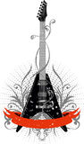 Guitar. Vector image guitar with pattern and red ribbon Royalty Free Illustration