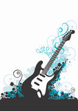 Guitar. Illustration of a guitar and decorative patterns Royalty Free Stock Images