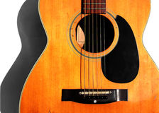 Guitar. Acoustic Guitar (old) in bright light Stock Photography