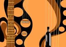 Guitar. Classic guitar Spanish 6 strings styled and a bottle of wine Stock Image
