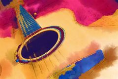 Guitar. Painting imag with yellow guitar Stock Image