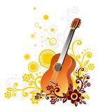 Guitar. On a white background with a yellow and brown pattern with circles Stock Photo