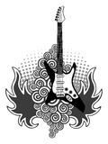 Guitar. Bass guitar aflame. Rock style tattoo. Vector illustration Royalty Free Stock Photo