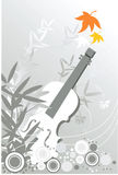 Guitar. On black and Wight floral background Royalty Free Stock Image