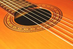 Guitar. Spanish guitar, instrument, strings and adornments stock image