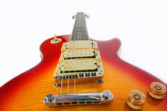 Guitar 5. Cherry burst guitar, Red, yellow colors with treble switch and volume controls Royalty Free Stock Photo