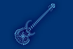 Guitar. A guitar simple generated all music notes by illustration with blue background vector illustration