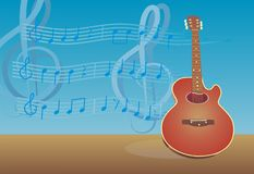 Guitar. It's a guitar with melody as a background Royalty Free Stock Photography