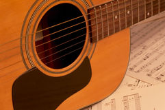 Guitar. With sheet music Stock Images