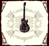 Guitar. Vintazhnyj background with a guitar on an ancient roll Royalty Free Stock Photos