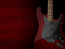 Guitar. Vector background with electric guitar and musical notes Stock Photos