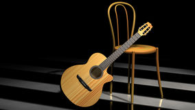 Guitar. A chair and a wood guitar on stage - 3d render Stock Photos