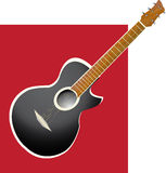 Guitar Abstract. Nice stylish acoustic guitar on red background stock illustration
