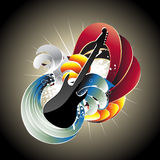 Guitar in abstract background. Abstract  colorful guitar design. Visit my gallery for more designs like this Royalty Free Stock Photography