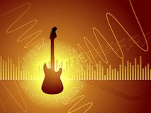 Guitar abstract background. Electric guitar on a vector background of musical symbols Stock Photos