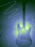 Guitar abstract background. Electric guitar on a vector background of musical symbols royalty free illustration