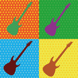 Guitar. Abstract guitars on squares with different color Royalty Free Stock Photo