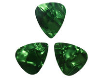 Guitar accessories. Photo of guitar accessories ,plectrums picks for electric or acoustic guitar, green pearl effect , on a white background. PNG format is royalty free stock images