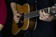 Guitar. Acoustic Guitar being played by man Stock Images