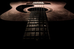 Guitar acoustic, ideal use for background. An idea for inspiration with low light Stock Images