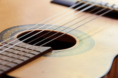 Guitar. Acoustic guitar, instrument,  close up Royalty Free Stock Photo